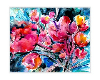 "Abstract Flower Watercolor painting, Art, poppy, poppies, Original Large painting on YUPO  ""Colorful Blooms"" by Kathy Morton Stanion EBSQ"