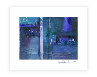 """Blue Abstract Oil Painting, Textured, Canvas Art, Original Contemporary Modern OIL on Canvas art  """"Forever"""" by Kathy Morton Stanion EBSQ"""