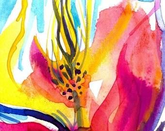 SOUL FLOWER 52 Original Contemporary Modern Watercolor art EBSQ