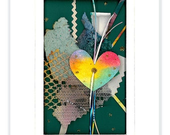 Heart Collage... Matted Very Dimensional Mixed media art . ready to frame  by Kathy Morton StanionEBSQ