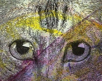 CAT  Original contemporary modern Mixed Media ACEO painting art in mat artist trading card atc EBSQ