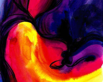 """Spiritual Red, yellow, Purple, Black, Blue, Abstract Painting, Watercolor Art, Original """"Soul Healing"""" by Kathy Morton Stanion EBSQ"""