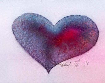 Heart Painting, HEART SPIRIT 2 Original Contemporary Modern art painting Ready for frame by Kathy Morton Stanion EBSQ