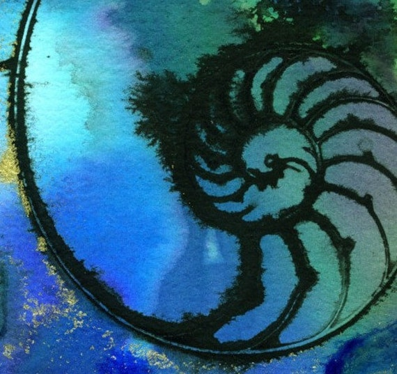 NAUTILUS SHELL 52 Original Contemporary Modern sea art painting FRAME READY EBSQ