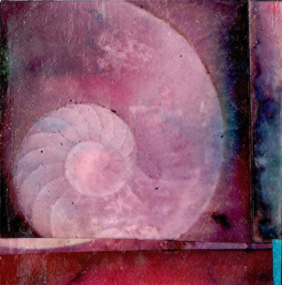 Peace - Nautilus Shell Chunky Page- Original Mixed Media abstract art painting collage by Kathy Morton Stanion EBSQ