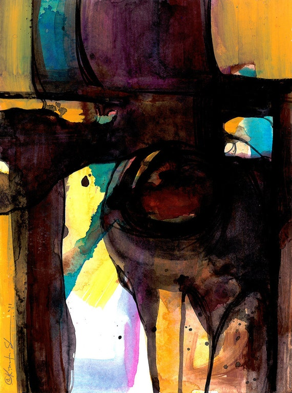 """Yellow, Brown, Original Abstract Painting, Contemporary, Modern, art """"Spirit Ground 4""""  by Kathy Morton Stanion EBSQ"""