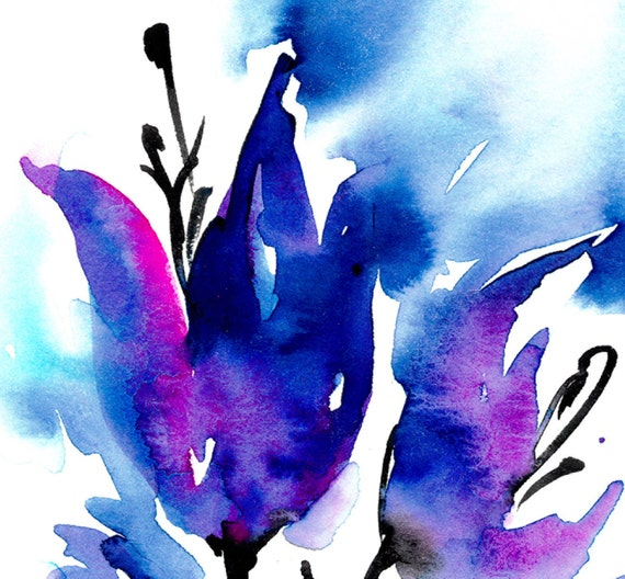 Blooms Of Blue ... Original abstract floral flower Watercolor painting EBSQ ... Free Shipping