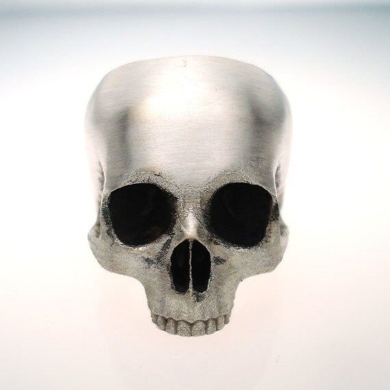 half skull ring in sterling silver