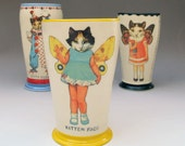 Cat - Kitty Girl with Butterfly Wings - Hand thrown Ceramic Vase / Tumbler