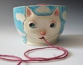 White Cat Yarn Bowl - sculpted kitty against blue sky