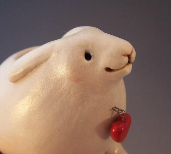 Vase - White Rabbit with Heart - Handsculpted Ceramic