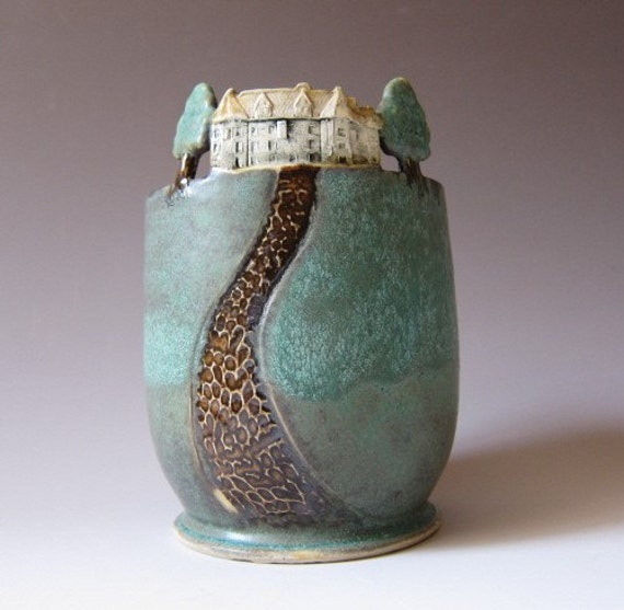 Home Sweet Home - Small Arts and Crafts style Vase / Rose Bowl