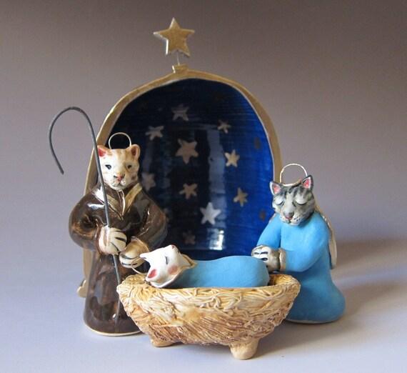 Cat Nativity Scene - Handsculpted ceramic