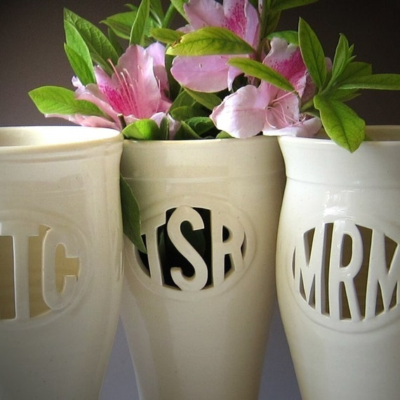 Custom Monogram Vase - RESERVED for avhill
