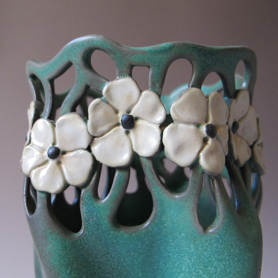 Art Nouveau Style Vase in Matte Green with white flowers