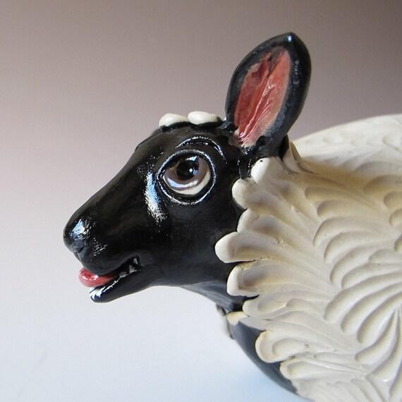 Grumpy Black Faced Sheep Sculpture - Hand Sculpted Stoneware