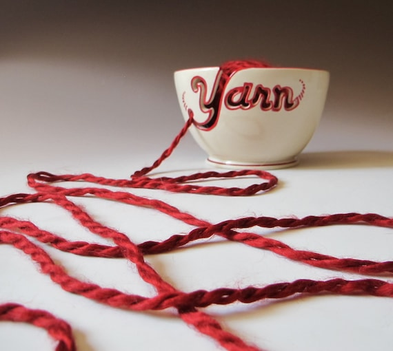 Yarn Bowl - Hand Made to Order with Red Accent