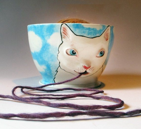 Cat Yarn Bowl - sculpted kitty against blue sky