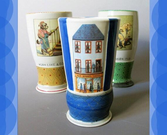 House & Stores - Hand thrown Ceramic Vase / Tumbler - French