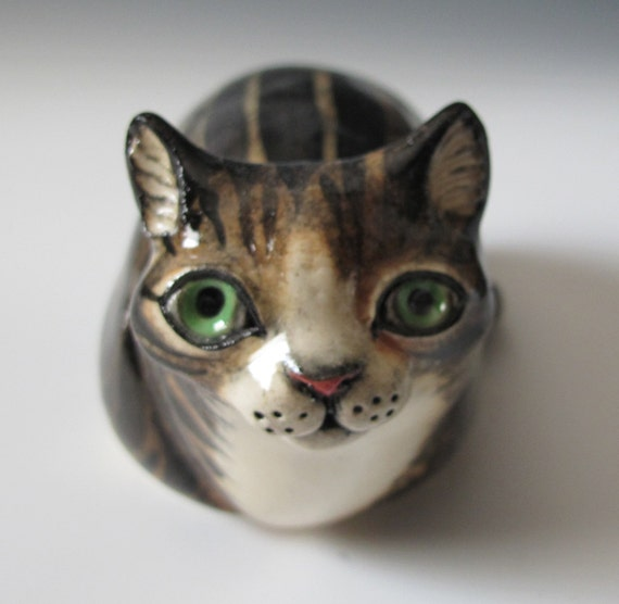Gray Tabby Cat  Ceramic Sculpture and Rattle