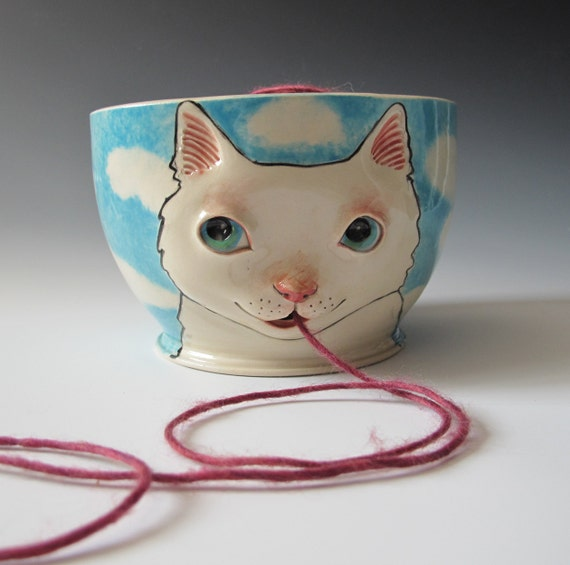 White Cat Yarn Bowl - sculpted kitty against blue sky