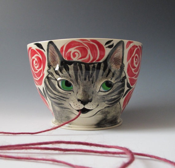 Cat Yarn Bowl - Knitty Kitty - Made to Order