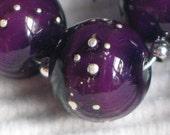 Handmade Glass Lampwork Beads, Eggplant Purple/Silver round