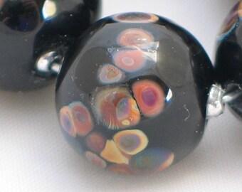 Handmade Glass Lampwork Beads, Black/Raku round