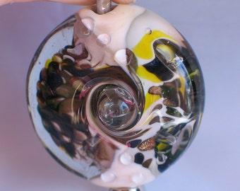 Handmade Glass Lampwork Beads,Ivorty/Yellow/Blue/Green/Gold Stone Large Lentil