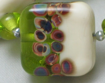 Handmade Glass Lampwork Beads, Chartreuse/Ivory/Raku Banded tile, square
