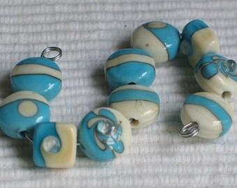 Handmade Glass Lampwork Beads, Turquoise/Ivory straight sided lentil