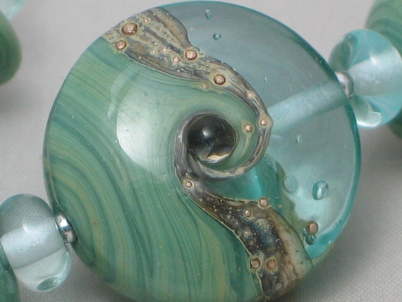 Handmade Glass Lampwork Beads, Focal,Green/Pale Blue, lentil, ocean, wave