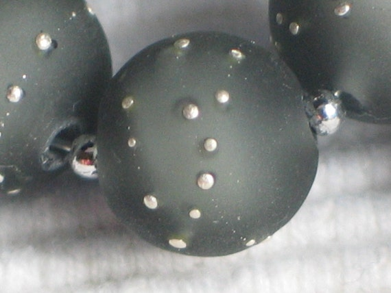 Handmade Glass Lampwork Beads, handmade, Gray/Silver/Etched/Frosted