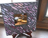 Mosaic Mirror in Shades of Pink, Purple and Burgundy with Millefiori Cane Pieces