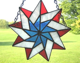 Stained Glass Patriotic Star, Red White and Blue,  Military, Veteran, Memorial Day, 4th of July