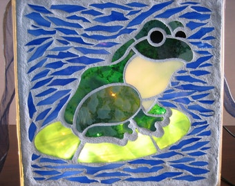 Hop on in - Mosaic frog lighted glass block, night light, pool decor