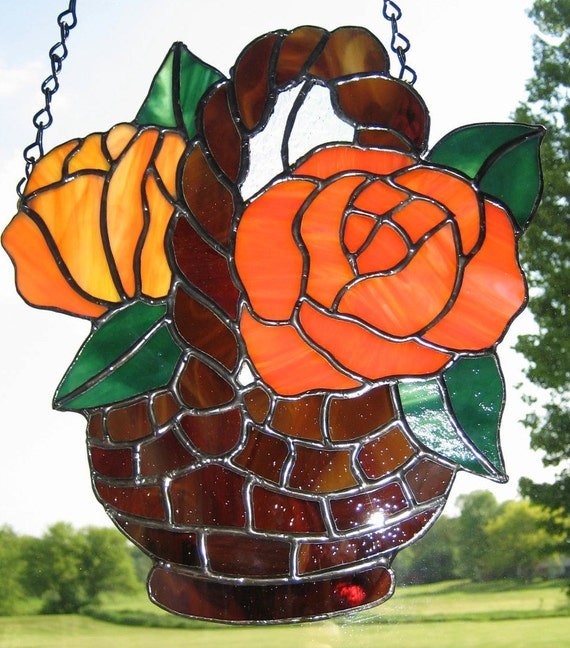 Reserved for Pat - Orange Roses in Woven Basket