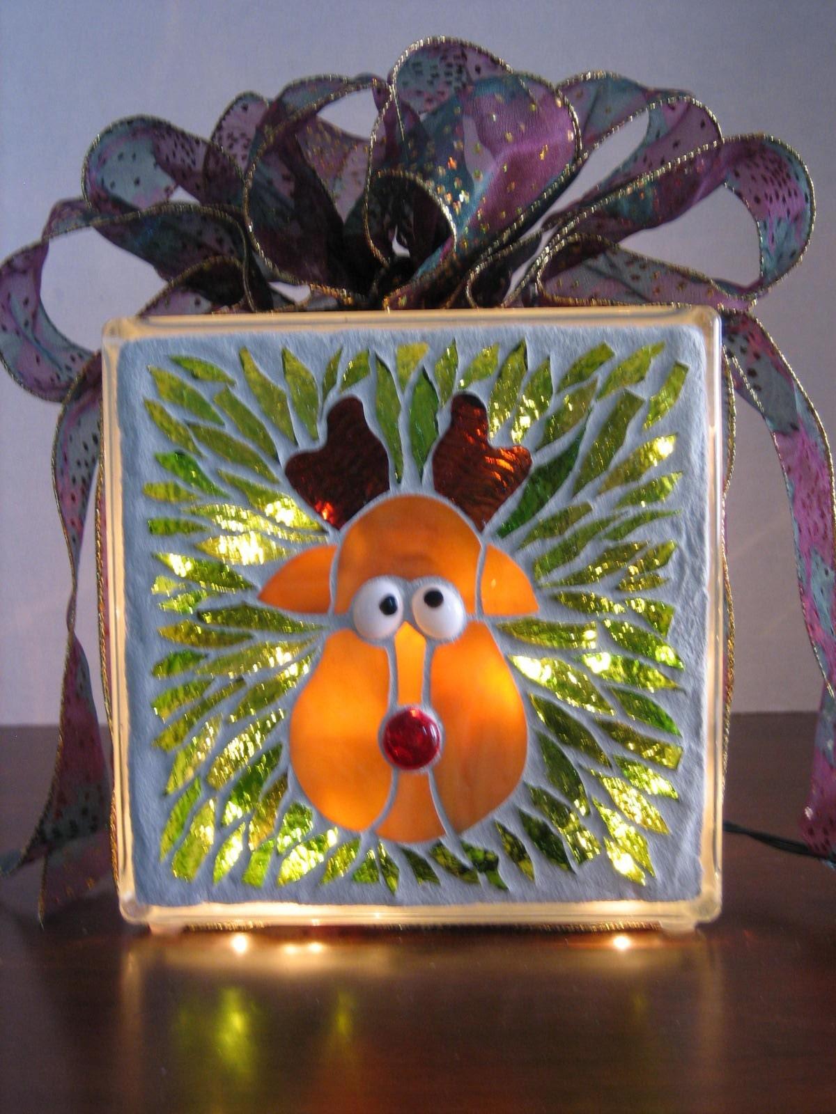 Rudy Reindeer Mosaic Lighted Glass Block