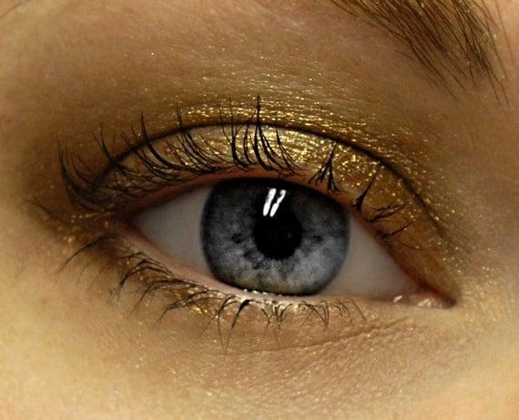 Chocolate Gold Eyeshadow - AZTEC GOLD (120) Mineral Eye Shadow MINI - Chocolate & Gold Sparkly Eyeshadow - 3 gram Jar