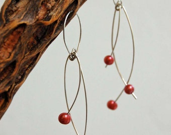 Pearl Earrings Dainty Dangle Sterling Silver Wire Artisan Made