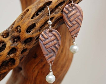 Copper and Pearl Dangle Earrings Artisan Made Metal Clay