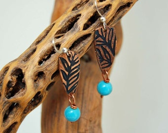 Copper and Turquoise Dangle Earring Artisan Made Copper Metal Clay