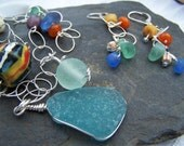 VIBRANT CALM - RARE COLORS Sea Glass NECKLACE and EARRINGS SET