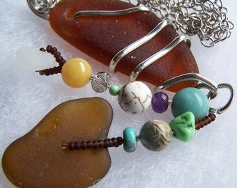 CARE FREE SUMMER - Sea Glass Long PENDANT NECKLACE