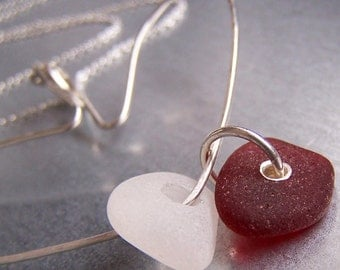 CHARMER - Hand Forged ARGENTIUM Sterling Silver Sea Glass HEART CHARM HOLDER NECKLACE
