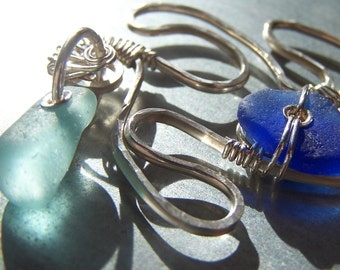 CLASSY STARFISH - RARE ICE BLUE and COBALT Sea Glass STERLING Silver HAND FORGED PENDANT NECKLACE