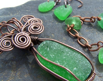 GREEN EYED - Sea Glass and Antiqued COPPER Necklace, Earring, and Bracelet SET