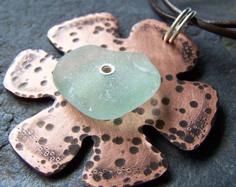FLOWER POWER - Handforged Copper and Sterling Silver FLOWER Pendant NECKLACE with Sea Glass