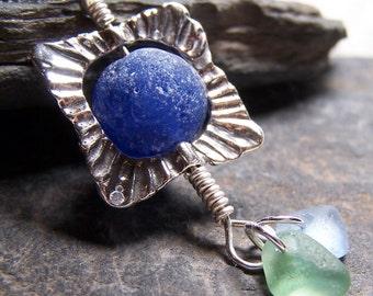 MAGICAL - Sea Glass COBALT Blue MARBLE STERLING Silver NECKLECE