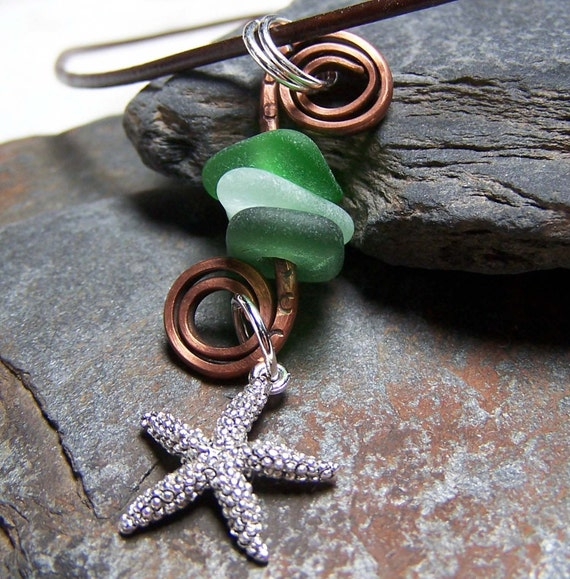 RIP CURL - Triple Stacked Sea Glass Starfish NECKLACE